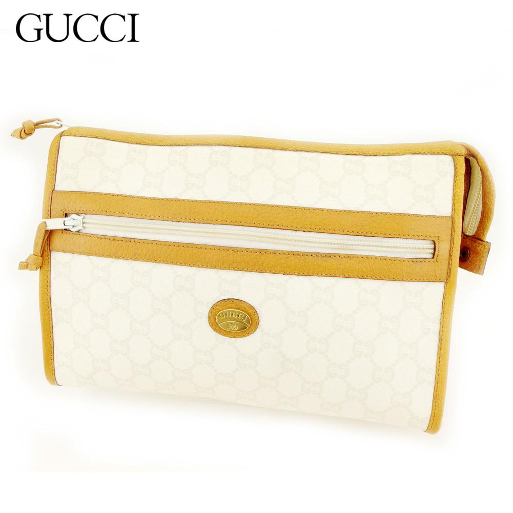 【中古】 グッチ Gucci クラッチバッグ セカンドバッグ レディース メンズ グッチプラス ホワイト 白 ブラウン PVC×レザー ヴィンテージ 人気 T9418