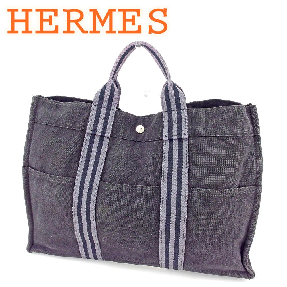【中古】 エルメス HERMES トートバッグ ハンドバッグ レディース メンズ トートMM フールトゥ ブラック グレー 灰色 シルバー コットンキャンバス 人気 セール B1053