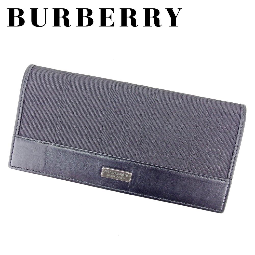 【中古】 バーバリー ブラックレーベル BURBERRY BLACK LABEL 長財布 ファスナー付き 財布 メンズ チェック ブラック シルバー キャンバス×レザー 人気 セール B1068