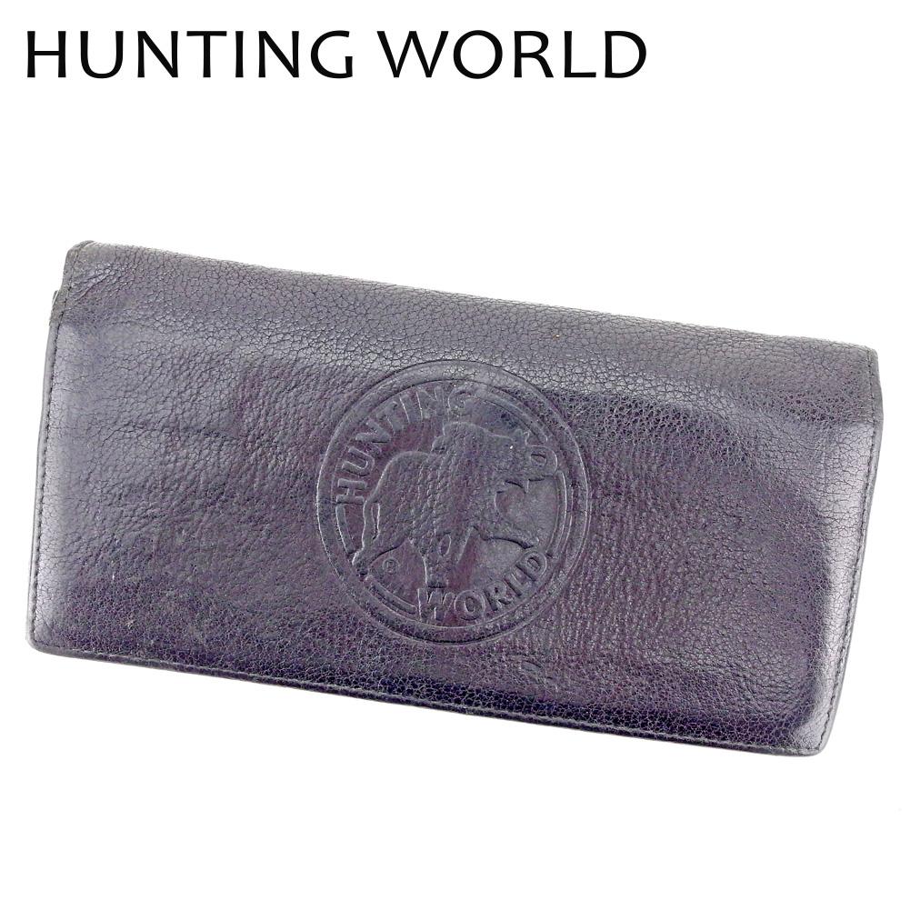 【中古】 ハンティングワールド HUNTING WORLD 長財布 ファスナー付き 財布 メンズ モニュメント ブラック シルバー レザー 人気 セール B1077