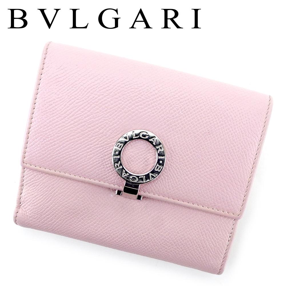 【中古】 ブルガリ BVLGARI Wホック 財布 二つ折り レディース ブルガリブルガリ ピンク シルバー レザー 人気 良品 T9497