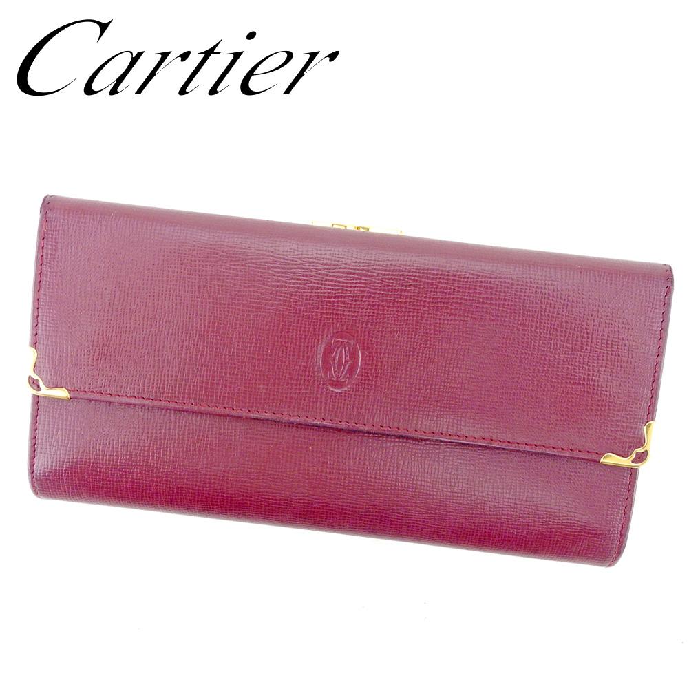 【中古】 カルティエ Cartier 長財布 がま口 三つ折り 財布 レディース メンズ マストライン ボルドー ゴールド レザー 人気 セール T9508