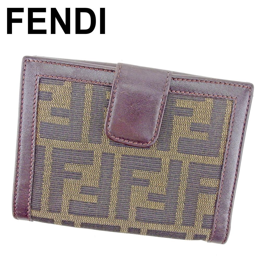 【中古】 フェンディ FENDI Wホック 財布 二つ折り レディース メンズ ズッカ ブラウン ブラック ベージュ キャンバス×レザー 人気 良品 T9520