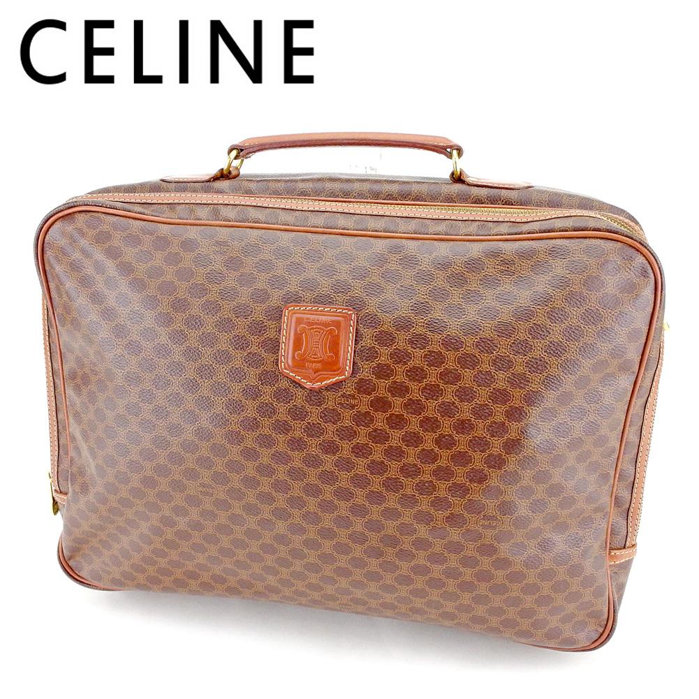 【中古】 セリーヌ CELINE ビジネスバッグ ブリーフケース レディース メンズ マカダム ブラウン ベージュ ゴールド PVC×レザー ヴィンテージ レア T9525