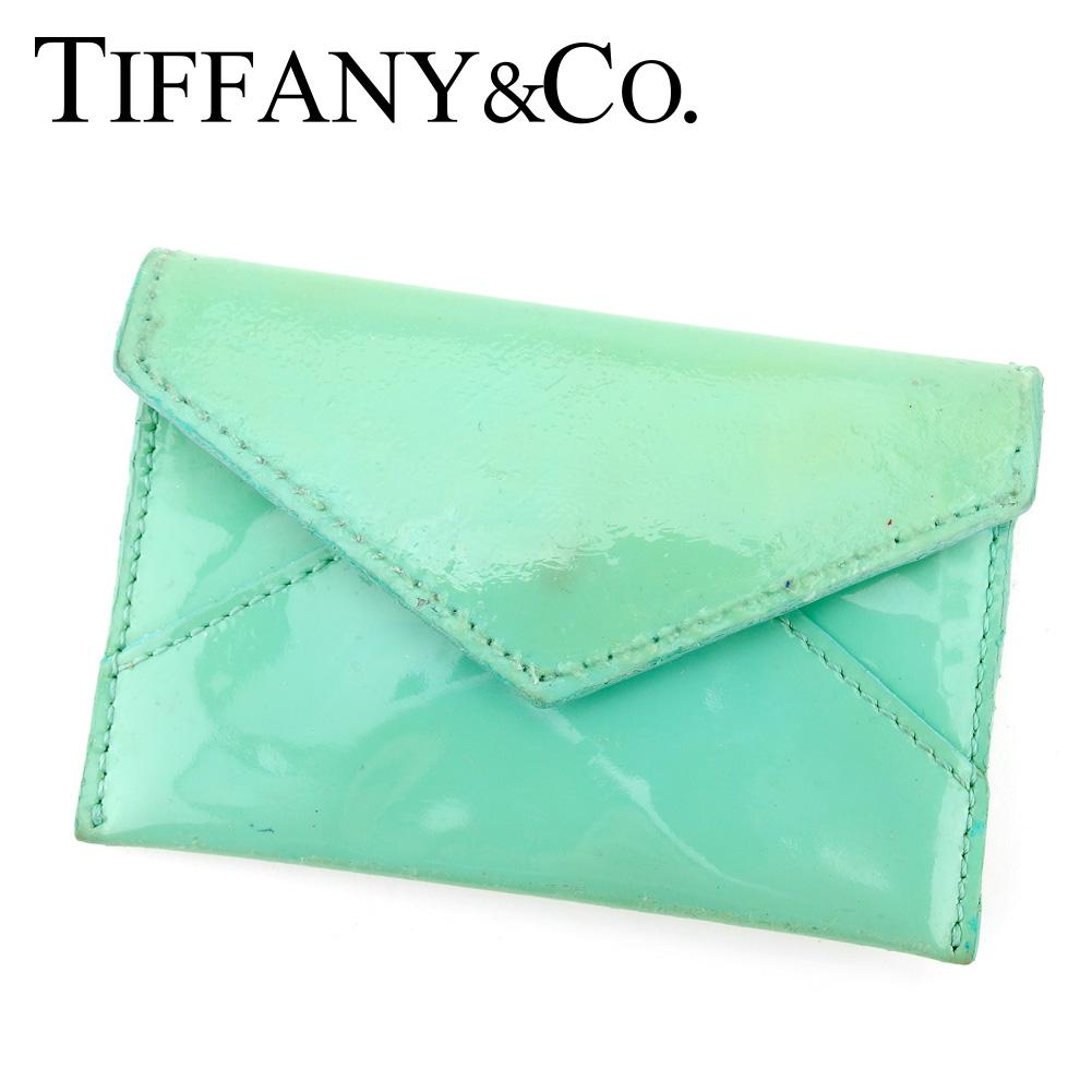 【中古】 ティファニー Tiffany&Co. 名刺入れ カードケース レディース ブルー エナメルレザー F1467