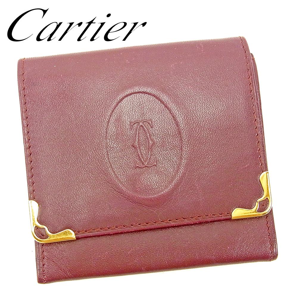 【中古】 カルティエ Cartier コインケース 小銭入れ レディース メンズ マストライン ボルドー レザー 人気 セール G1388