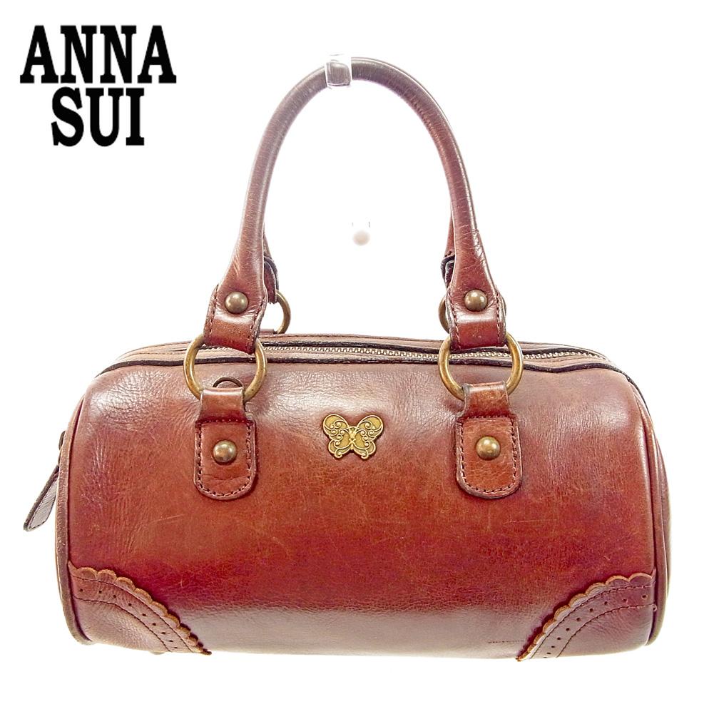 【中古】 アナスイ ANNA SUI ハンドバッグ ミニボストンバッグ メンズ可 バタフライモチーフ ブラウン レザー 人気 セール G1393