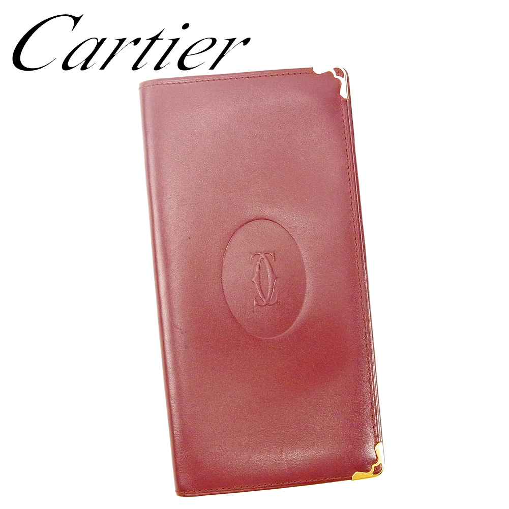 夏 贈答 プレゼント 中古 カルティエ 高品質 長札入れ 長財布 G1397 Cartier マストライン ボルドー レザー