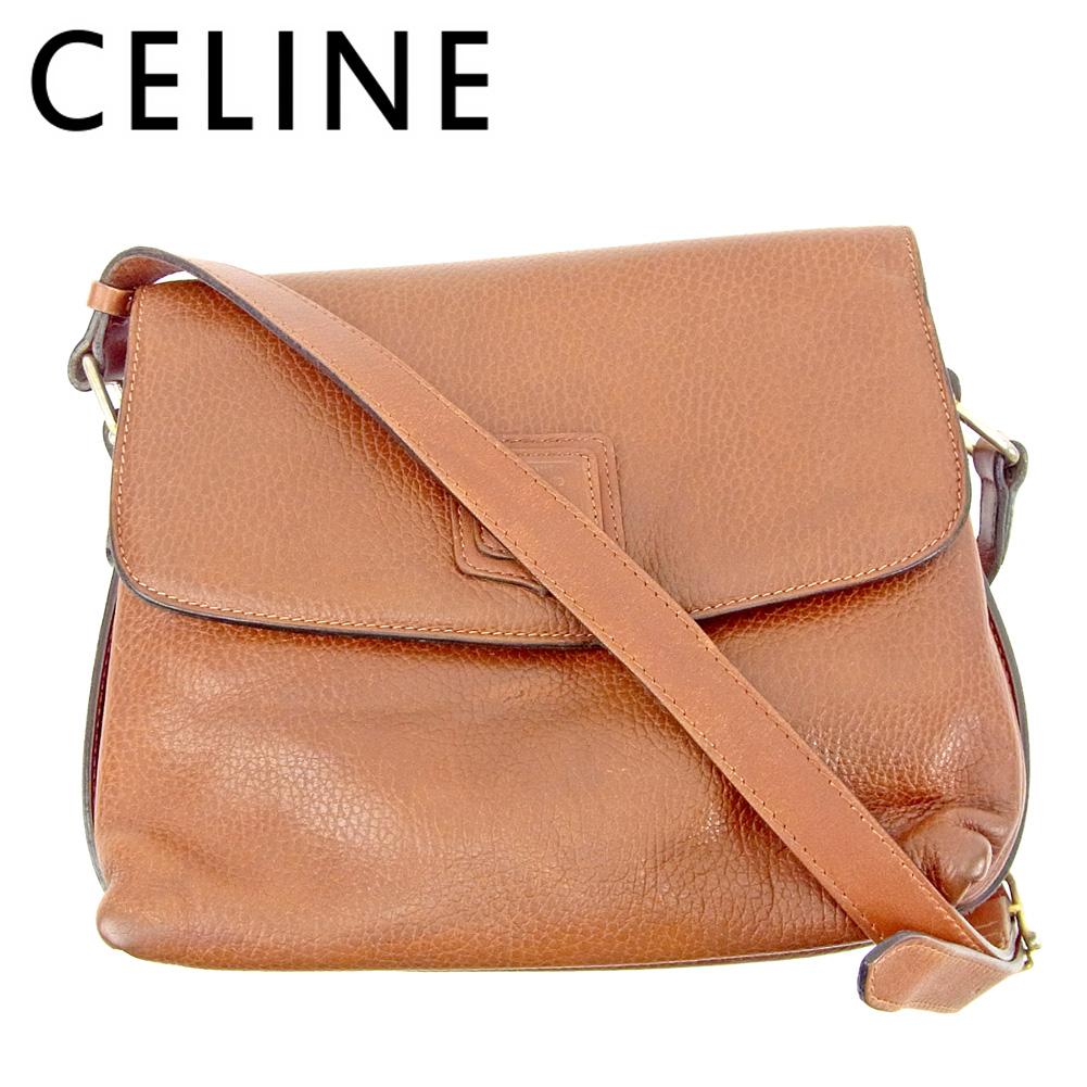 【中古】 セリーヌ Celine ショルダーバッグ 斜めがけショルダー レディース  ブラウン レザー 人気 セール G1406