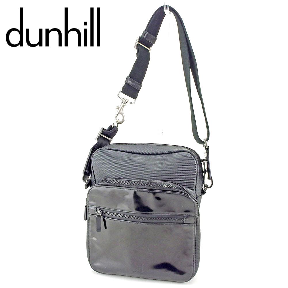【中古】 ダンヒル dunhill ショルダーバッグ 斜めがけショルダー バッグ メンズ 異素材コンビ ブラック シルバー キャンバス×エナメルレザー 訳あり セール P849