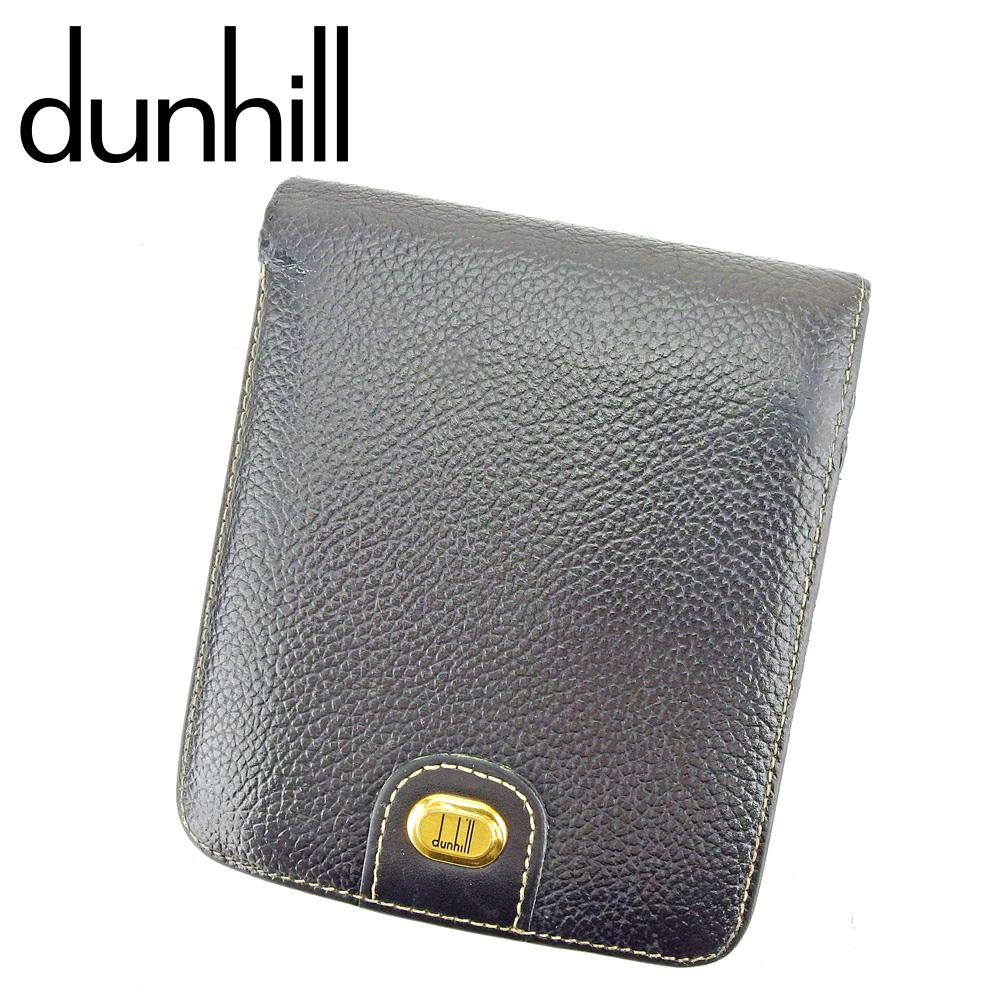 【中古】 ダンヒル dunhill 二つ折り 財布 メンズ ロゴプレート ブラック ゴールド レザー 人気 セール P919
