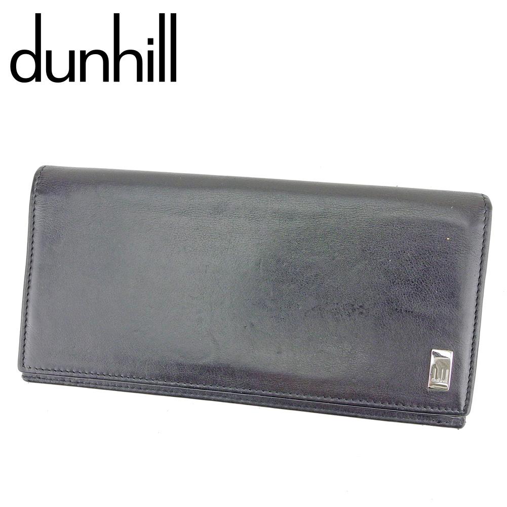 【中古】 ダンヒル dunhill 長財布 ファスナー付き 財布 メンズ サイドカー ブラック シルバー レザー 人気 良品 P923