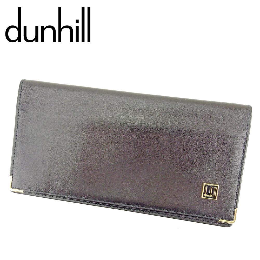 【中古】 ダンヒル dunhill 長札入れ 札入れ メンズ ロゴプレート ブラック ゴールド レザー 人気 セール P928
