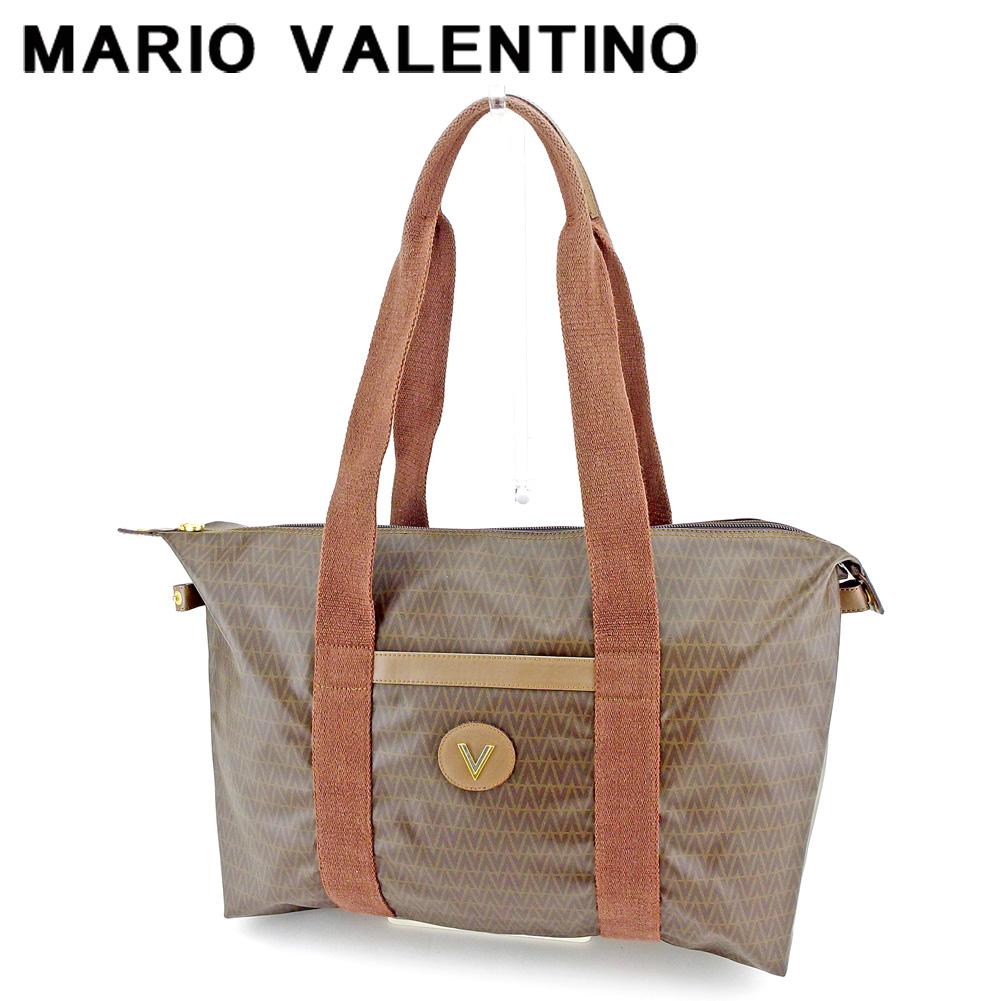 【中古】 マリオ ヴァレンティノ MARIO VALENTINO トートバッグ トート ショルダーバッグ レディース メンズ Vマーク ブラウン ベージュ系 PVC×レザー 人気 セール P945