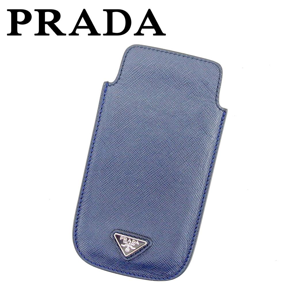【中古】 プラダ PRADA iPhoneケース アイフォンケース レディース メンズ トライアングルロゴ ネイビー シルバー サフィアーノレザー 美品 セール P946