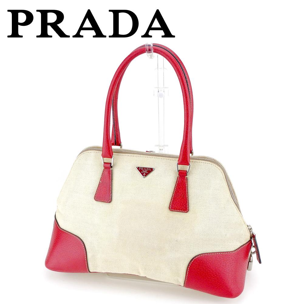 554c478508f204 Prada PRADA handbag mini-Boston bag Lady's beige red canvas X leather  popularity sale T6656