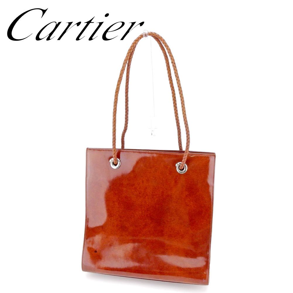 【中古】 カルティエ Cartier トートバッグ ワンショルダー レディース パンテール ブラウン レザー 人気 セール T8889