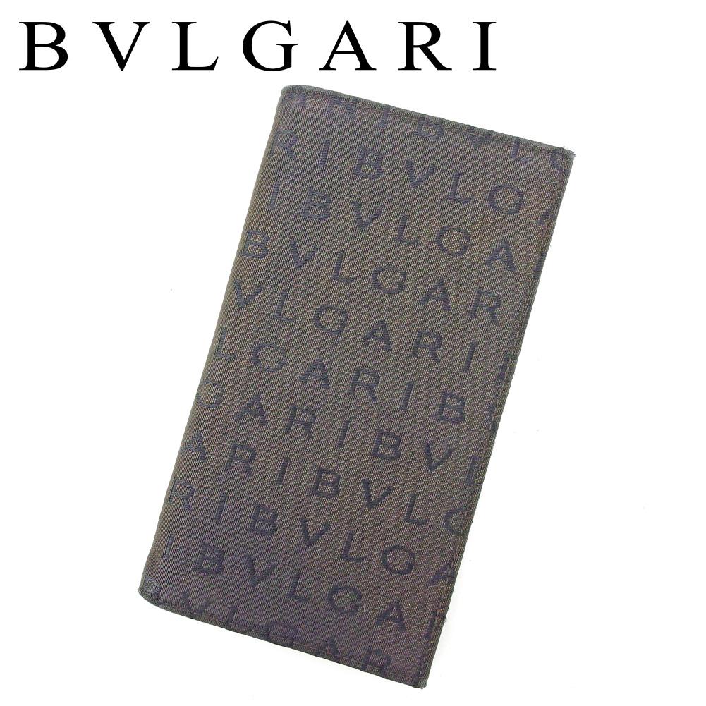 【中古】 ブルガリ BVLGARI 長札入れ 長財布 レディース メンズ ロゴマニア ブラウン キャンバス×レザー 人気 良品 T8891