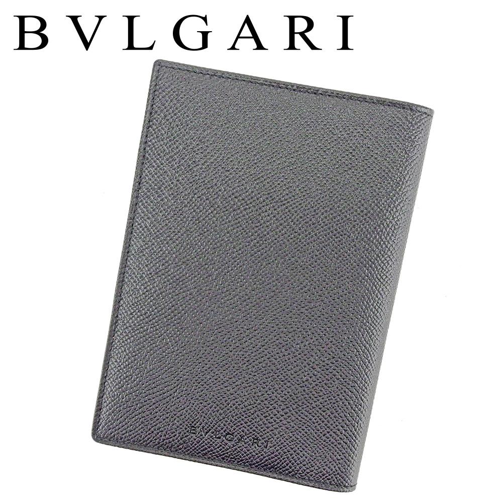 【中古】 ブルガリ BVLGARI パスポートケース パスポートカバー メンズ クラシコ ブラック レザー 未使用品 セール T9327