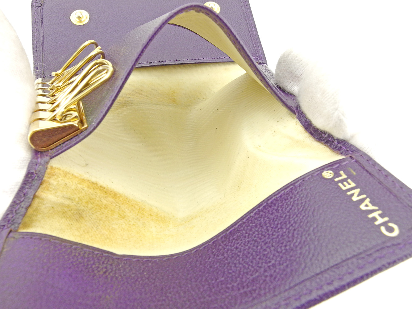 シャネル キーケース 6連キーケース オールドシャネル ココマーク パープル ゴールド レザーCHANEL レディース プレゼント 贈り物 1点物 人気 良品 夏 ブランド 迅速発送 オシャレ 大人 在庫処分 ファッション送料無料T9338 AY6ybf7g
