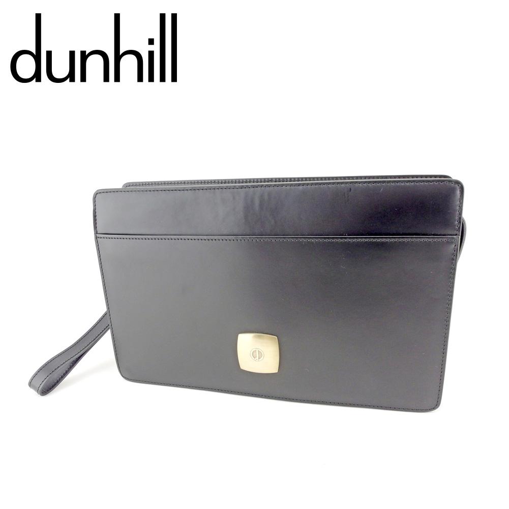 【中古】 ダンヒル dunhill クラッチバッグ セカンドバッグ メンズ dマークプレート ブラック ゴールド レザー 人気 良品 T9340