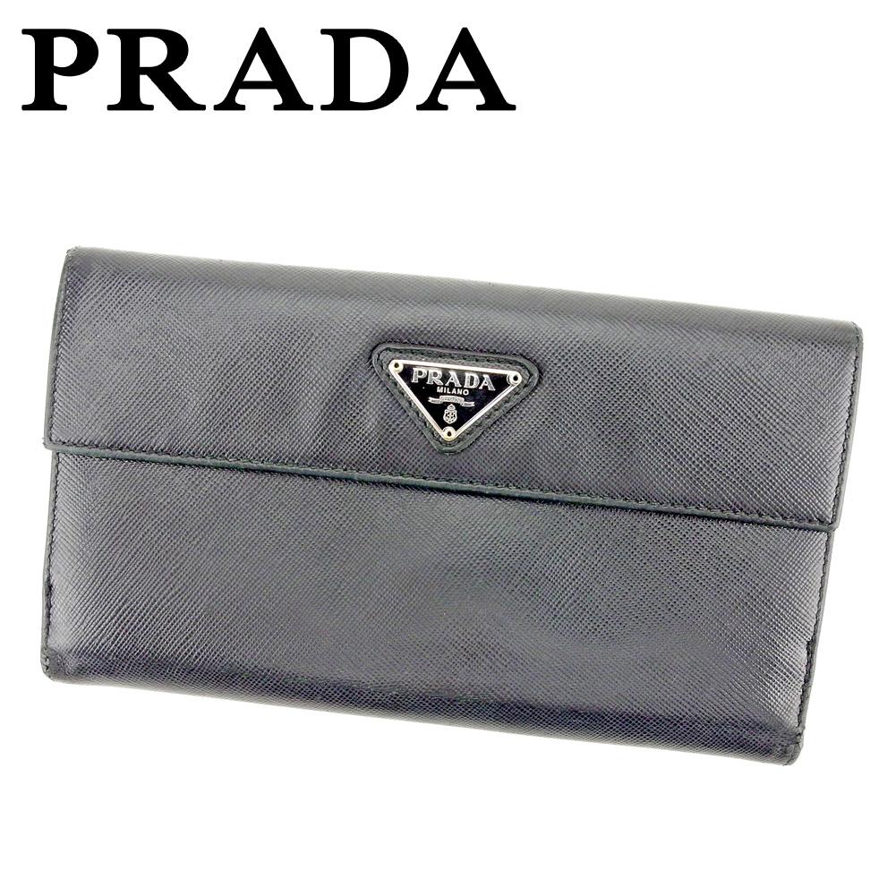【中古】 プラダ PRADA 長財布 Wホック 財布 レディース メンズ トライアングルロゴ ブラック シルバー ゴールド サフィアーノレザー 人気 セール T9351