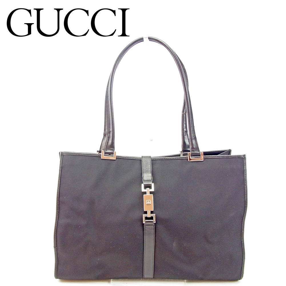 eb13433b85b8ed Gucci Gucci tote bag one shoulder Lady's men Jackie black leather  popularity sale T9480 ...