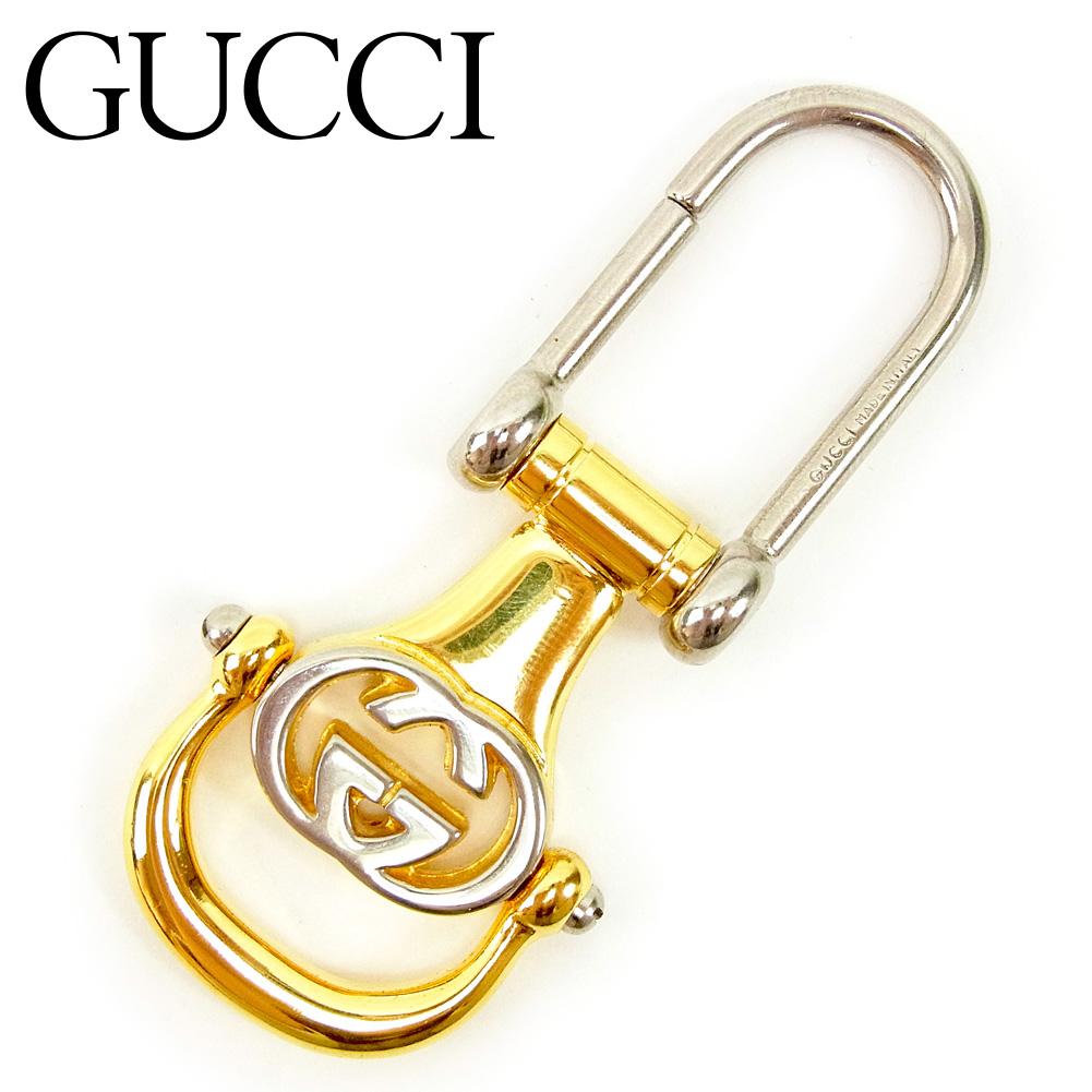 【中古】 グッチ Gucci キーホルダー キーリング メンズ可 インターロッキング シルバー ゴールド 廃盤 レア T9487