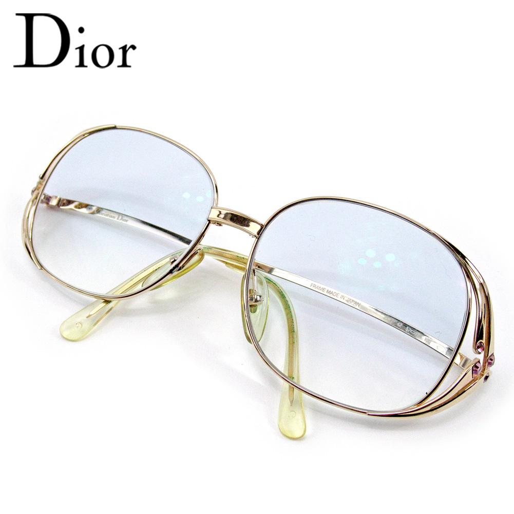 【中古】 ディオール 眼鏡 メガネ 度入り ラインストーン ゴールド Dior レディース プレゼント 贈り物 1点物 人気 良品 春 ブランド 迅速発送 オシャレ 大人 在庫処分 ファッション 【送料無料】 E1462