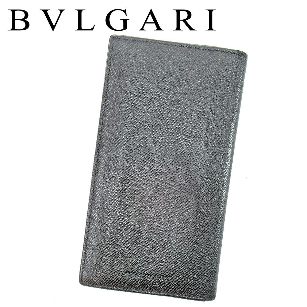 【中古】 ブルガリ BVLGARI 長札入れ 長財布 レディース メンズ ブラック レザー T9834