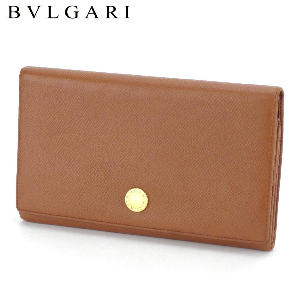 長財布 [再販ご予約限定送料無料] ファスナー 二つ折り ショッピング ブルガリ 人気 限定10%オフ ラスト1個 レザー 中古 T12062 送料無料 ロゴボタン ライトブラウン×ゴールド BVLGARI