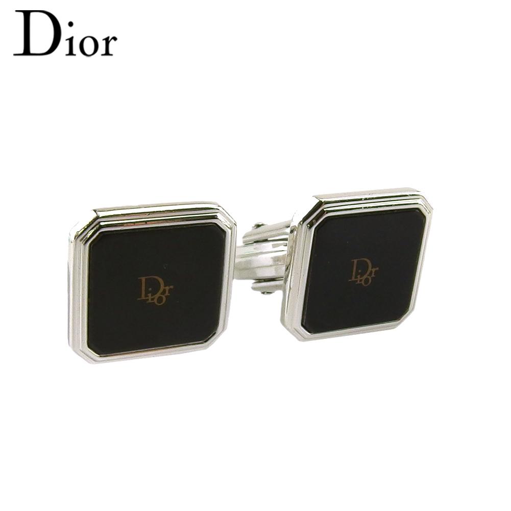 期間限定特別価格 ディオール 人気 限定10%オフ ラスト1個 中古 カフス カフリンクス メンズ スウィヴル式 輸入 送料無料 シルバー金具 ゴールド ロゴ T19716 シルバー グリーン Dior