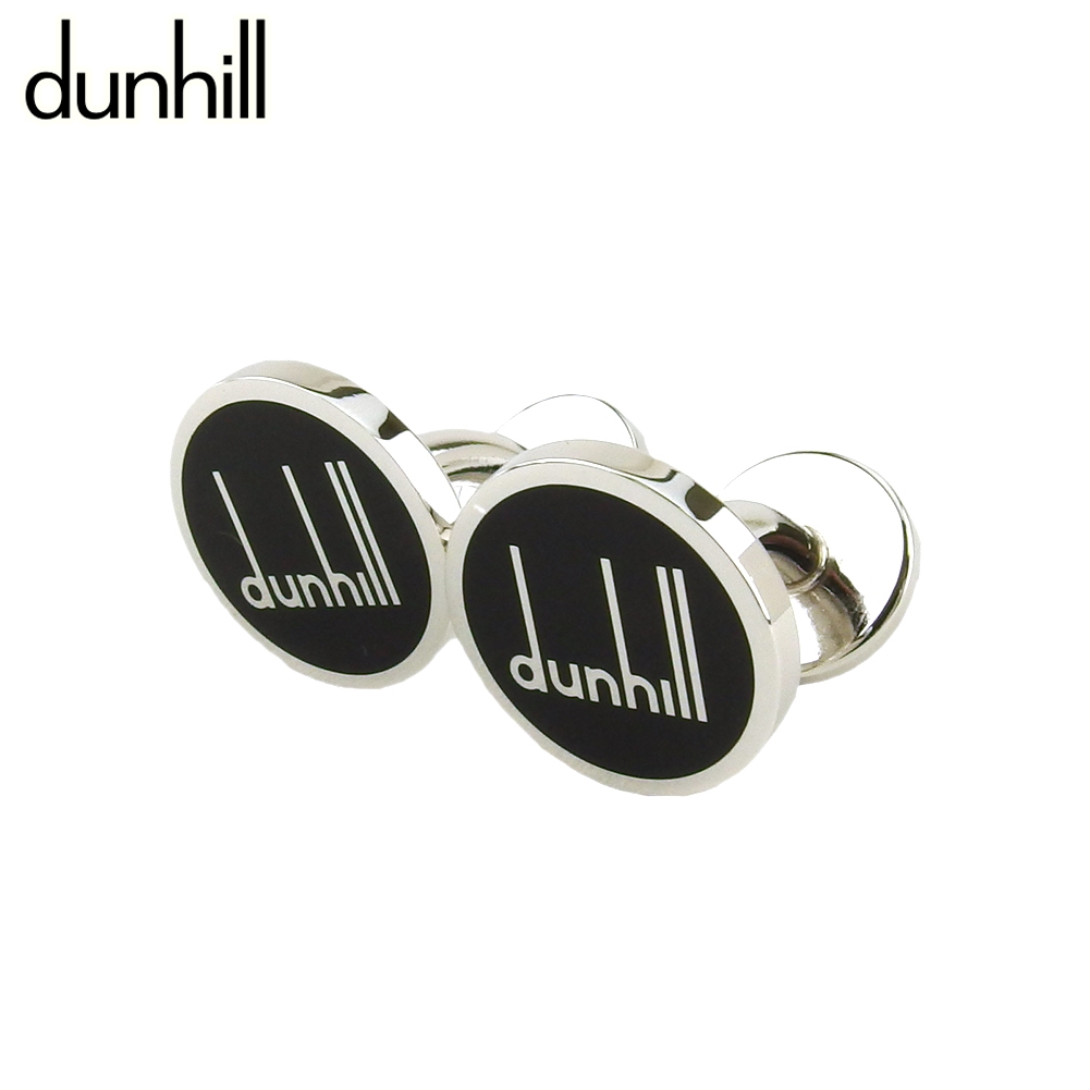 ダンヒル 人気 限定10%オフ ラスト1個 中古 カフス カフリンクス メンズ 高額売筋 送料無料 シルバー シルバー金具 ブラック モデル着用&注目アイテム dunhill ロングテールロゴ 固定式 T19912