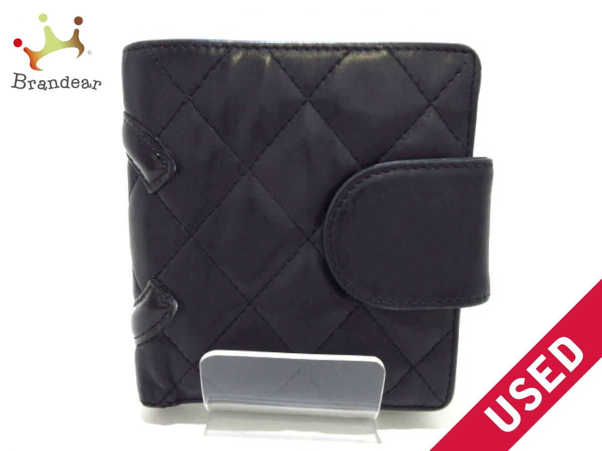 CHANEL(シャネル) 2つ折り財布 カンボンライン 黒 がま口 ラムスキン×エナメル(レザー)【中古】