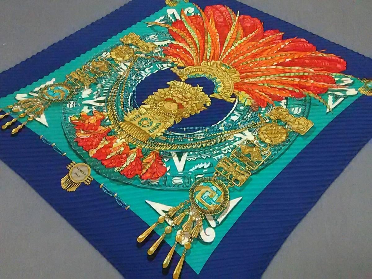HERMES(エルメス) スカーフ美品■ カレプリセ ブルー×グリーン×オレンジ MEXIQUE【中古】