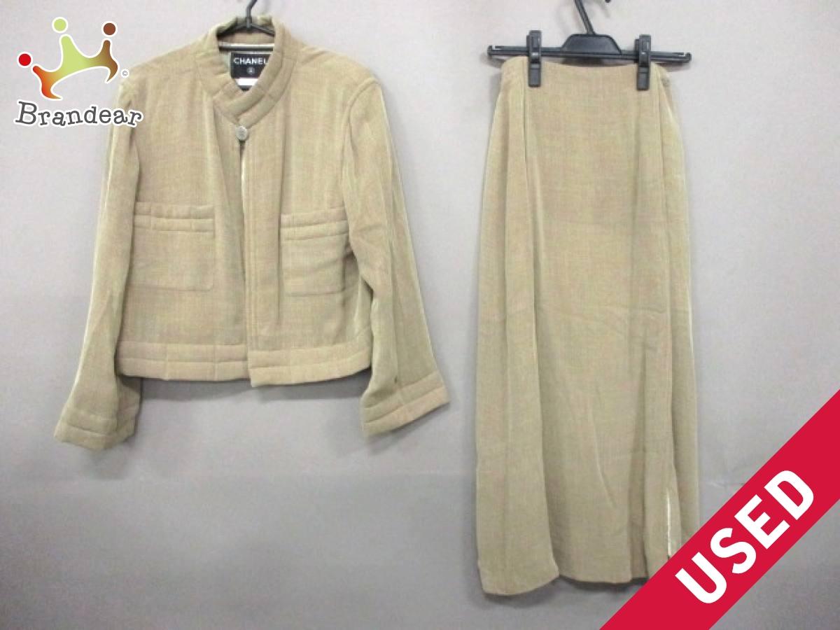 CHANEL(シャネル) スカートスーツ サイズ38 M レディース ベージュ スタンドカラー/ロングスカート 品質タグに書込みあり【中古】