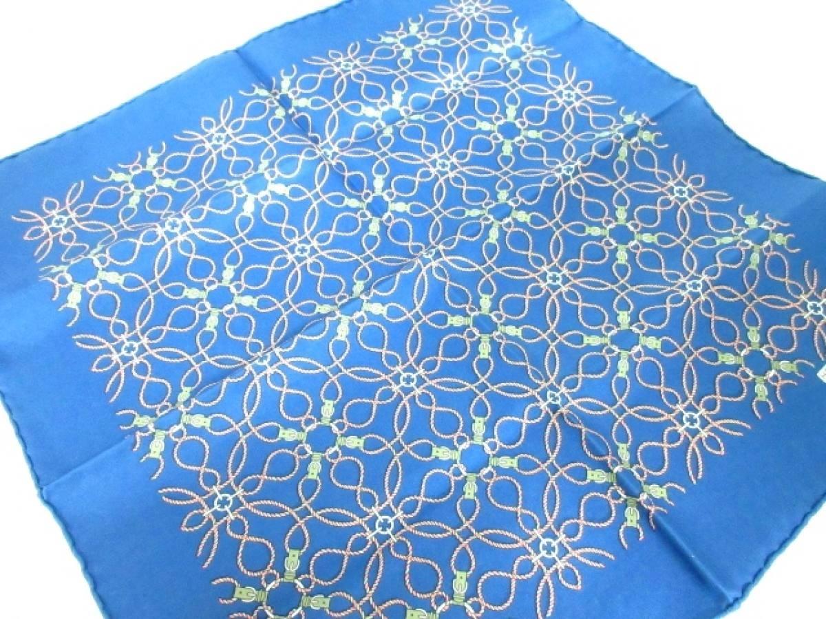 HERMES(エルメス) スカーフ美品■ プチカレ ブルー×カーキ×ピンク【中古】
