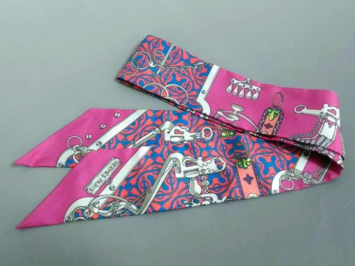HERMES(エルメス) スカーフ美品■ ツィリー 062811S-03 ピンク×ブルー×マルチ【中古】