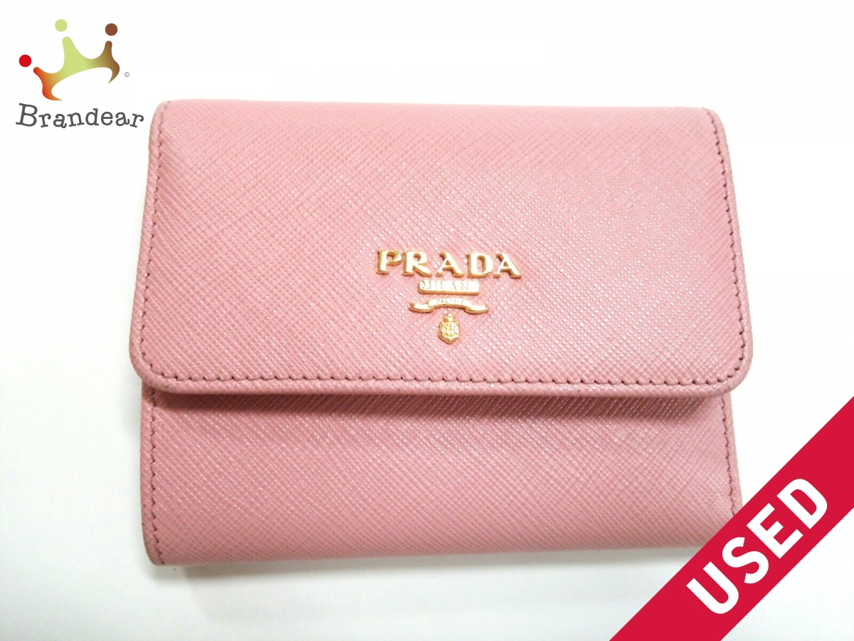 PRADA(プラダ) 3つ折り財布美品■ - 1MH840 ピンク レザーサフィアーノレザー【中古】