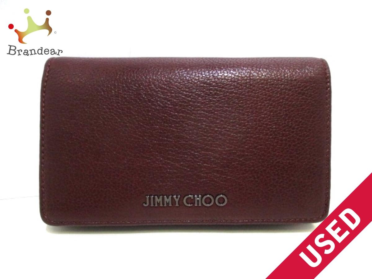JIMMY CHOO(ジミーチュウ) 2つ折り財布美品■ - ボルドー レザー【中古】