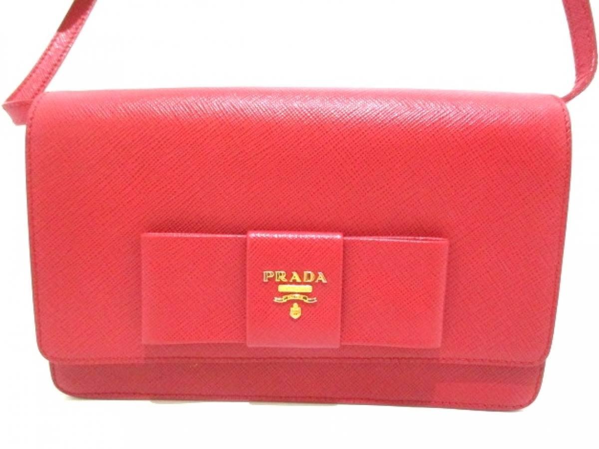 PRADA(プラダ) 財布 - BT1009 レッド リボン レザー【中古】