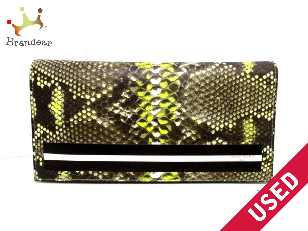 GIVENCHY(ジバンシー) 長財布美品■ 黒×ライトグリーン×白 パイソンプリント レザー【中古】