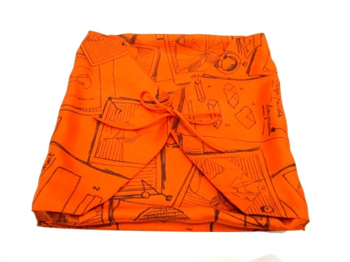 HERMES(エルメス) 小物入れ美品■ - オレンジ×黒 収納ケース シルク【中古】