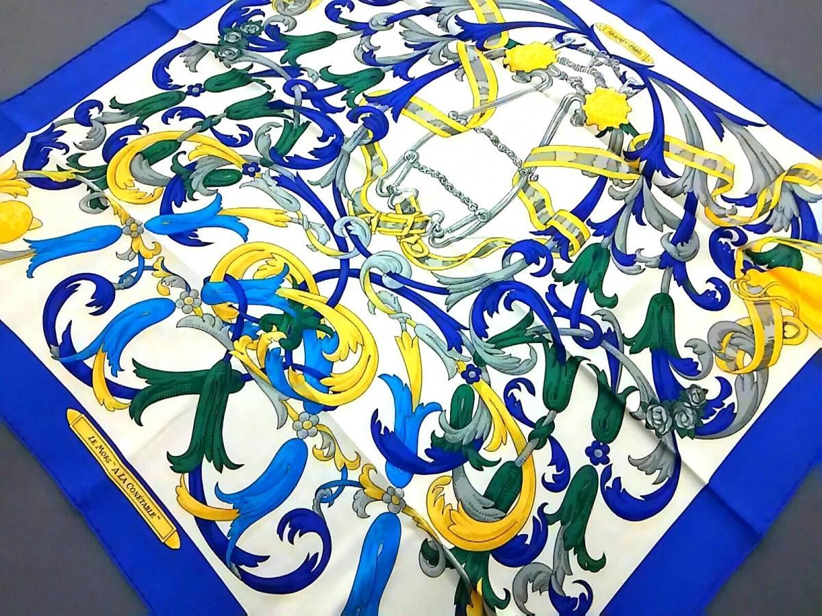 HERMES(エルメス) スカーフ美品■ カレ アイボリー×ブルー×マルチ【中古】