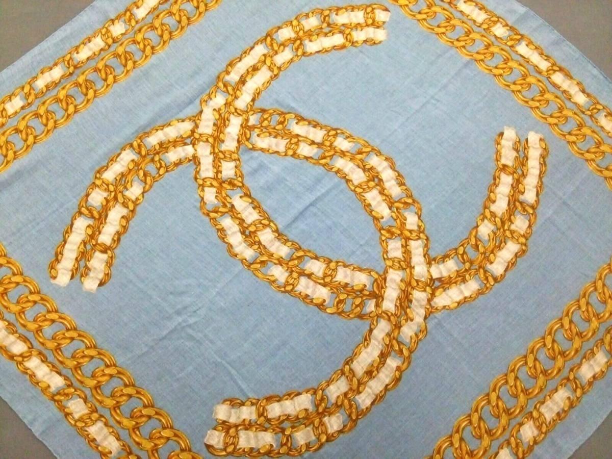 CHANEL(シャネル) スカーフ美品■ ライトブルー×ゴールド×白 ココマーク【中古】