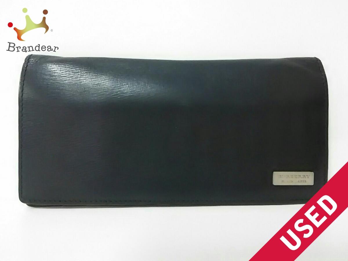info for 3195a 214ef Burberry Black レザー【中古】 黒 長財布 Label(バーバリー ...