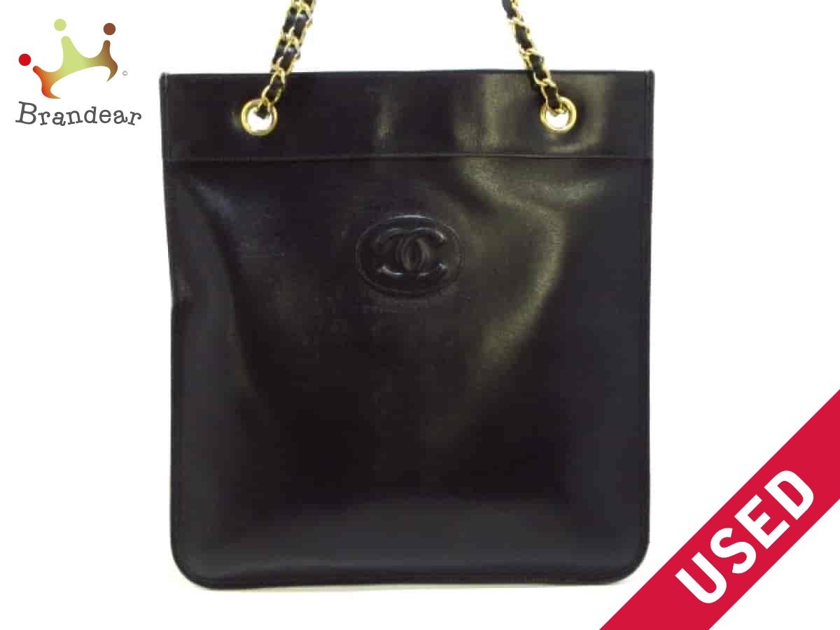 e158e7df2650 CHANEL(シャネル) トートバッグ - 黒 チェーンハンドル/ゴールド金具/ココマーク
