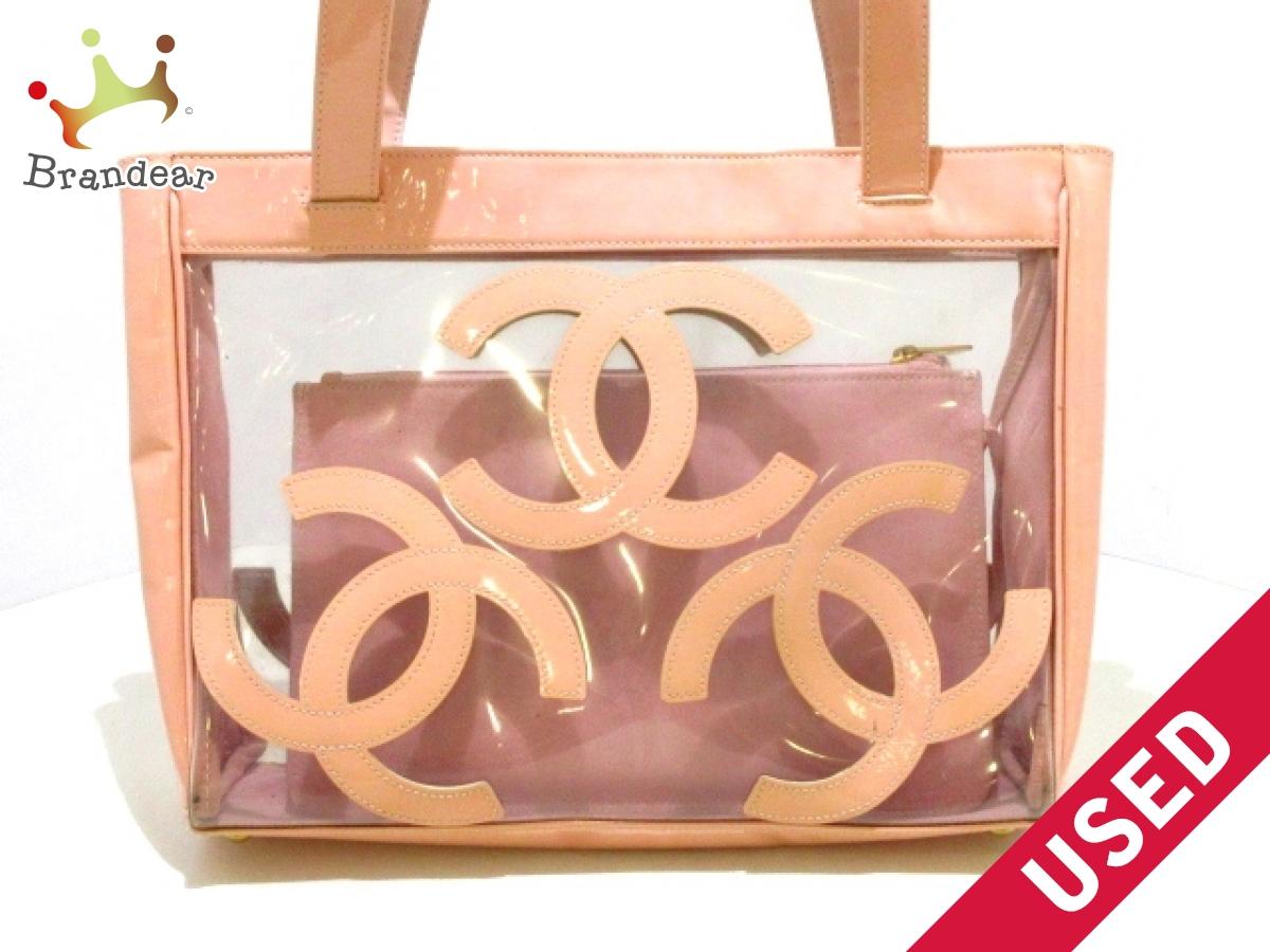 d9e2190d60a4 CHANEL(シャネル) トートバッグ - クリア×ピンク トリプルココマーク/ゴールド金具