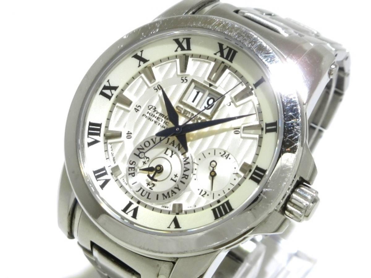 SEIKO(セイコー) 腕時計 プルミエ キネティック 7D56-0AB0 メンズ 白×シルバー【中古】