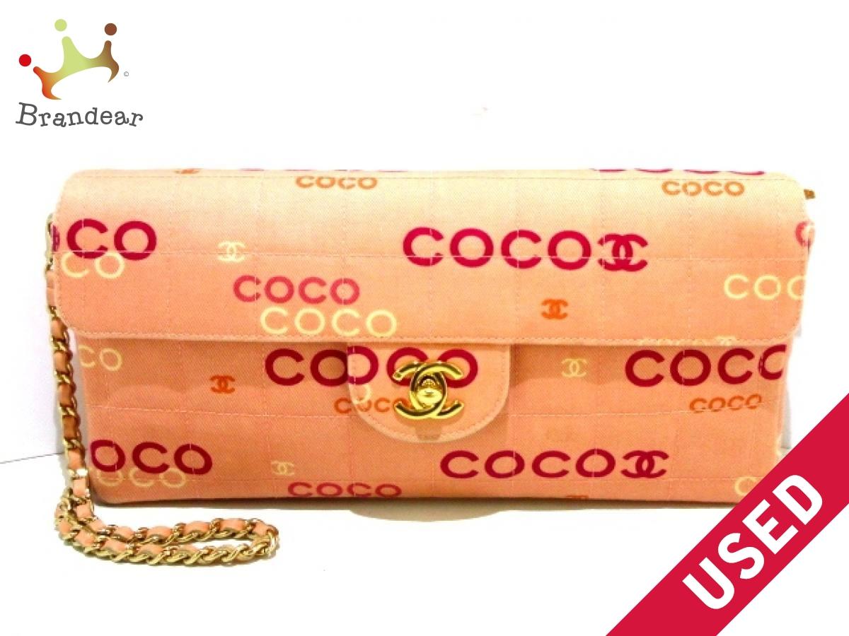 CHANEL(シャネル) ショルダーバッグ チョコバー ピンク×パープル×白 ゴールド金具/チェーンショルダー コットン【中古】